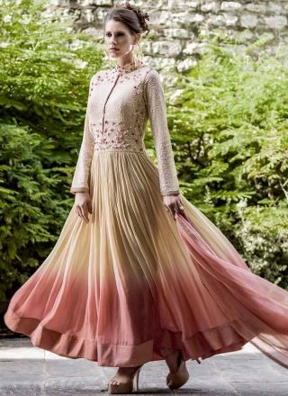 Awesome Cream And Peach Georgette Designer Anarkali Suit.  http://www.angelnx.com/Salwar-Kameez