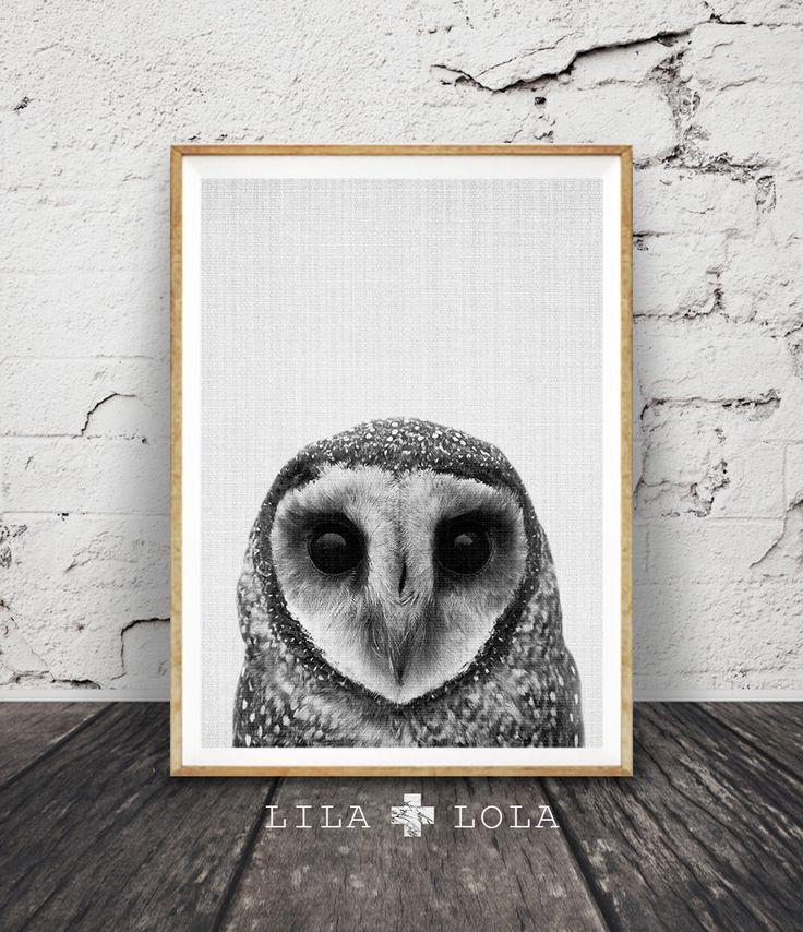 Uil Print, Decor van de kwekerij van het Woodlands, wildernis kunst aan de muur, afdrukbare Owl Poster, zwart wit en grijs, dierlijke foto, Gender neutraal kinderkamer door LILAxLOLA op Etsy https://www.etsy.com/nl/listing/249595849/uil-print-decor-van-de-kwekerij-van-het