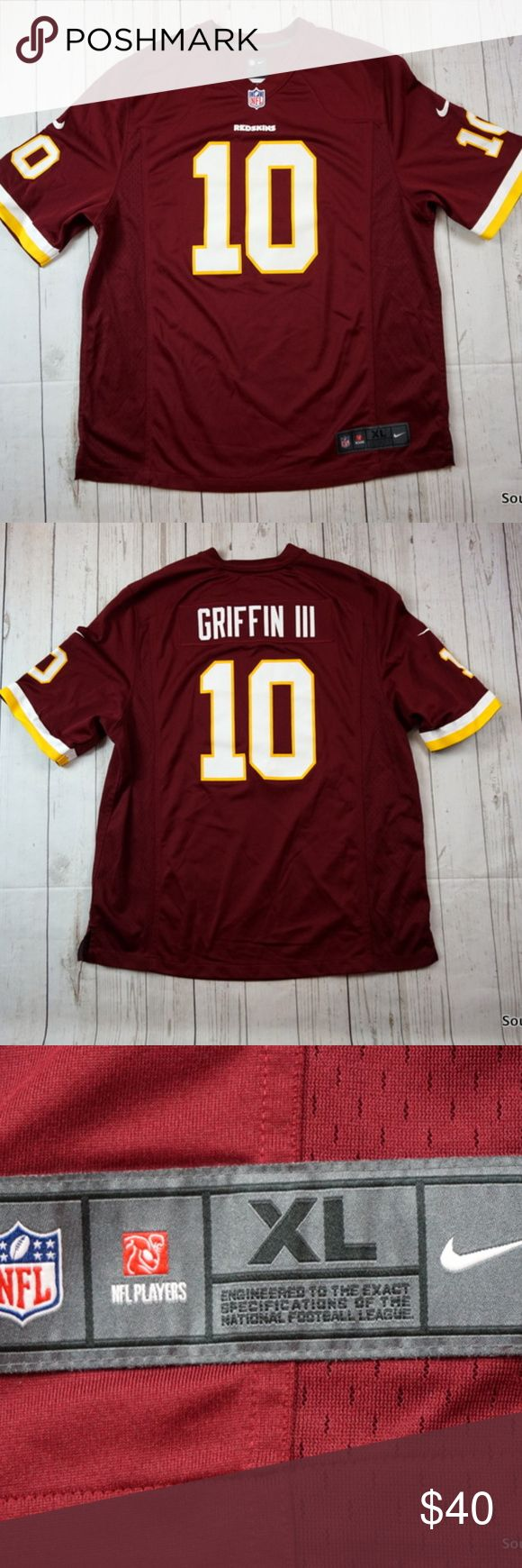"Robert Griffin III Washington Redskins Nike Jersey Brand: Nike On Field Size: Men's XL Material: Polyester  Detailed Measurements: (Front Side of Garment has been measured laying flat on a table)  Sleeves:              14.5"" inches Chest:                  25"" inches Length:                33.5"" inches  In good used shape and well cared for, ships in 1 business day or less from a clean and smoke free environment. Thanks! Nike Shirts Tank Tops"