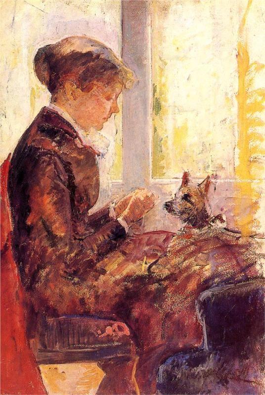 Woman By A Window Feeding Her Dog 1880