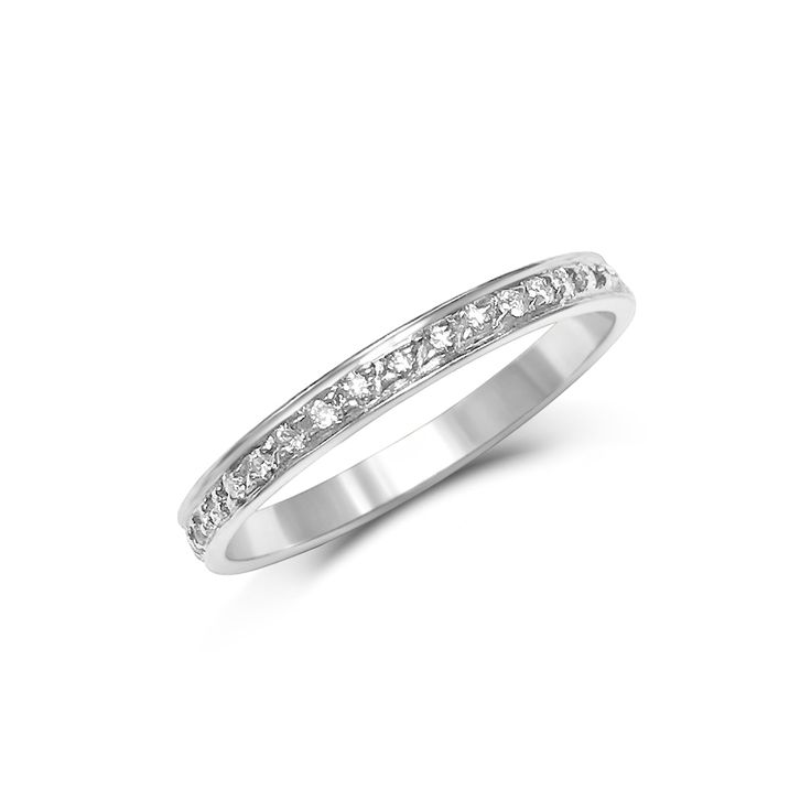 Diamond Thread And Grain Set Wedding Band Made In White Gold
