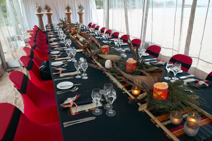 Beautiful Freshwater Beach, Aboriginal colors hand woven into dinner design for international guests - a modern Australiana