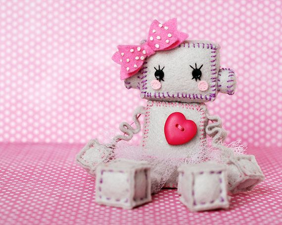 Kawaii Girl Robot Plush with Pink Heart Bow and Tutu by GinnyPenny, $32.00
