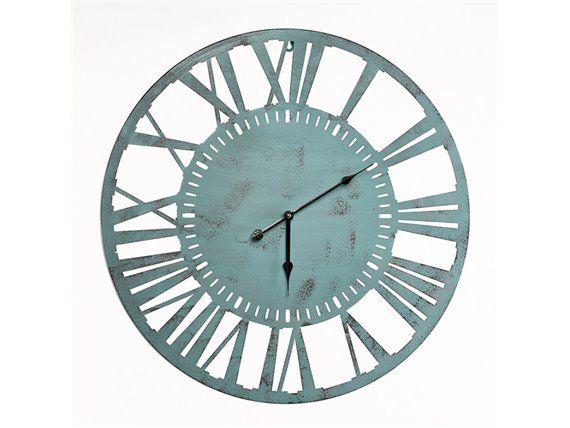 Horloge ronde en métal vert de gris 60 cm - Simla