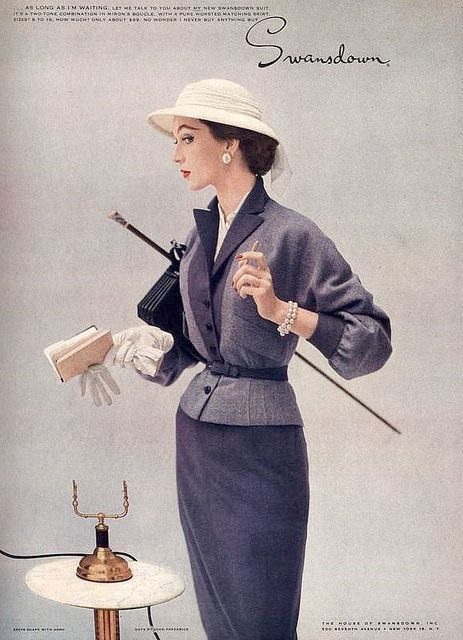 Ciao Bellísima - Vintage Glam; Model wearing suit for Swansdown advertisement, January 1953