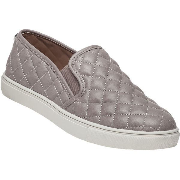 STEVE MADDEN Ecentrcq Grey Quilted Slip-On Sneaker ($60) ❤ liked on Polyvore featuring shoes, sneakers, grey, gray shoes, slip-on shoes, stretch sneakers, steve madden sneakers and slip on sneakers