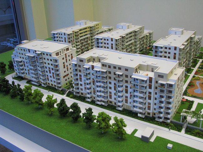 makieta 5 budynków VIII kondygnacyjnych