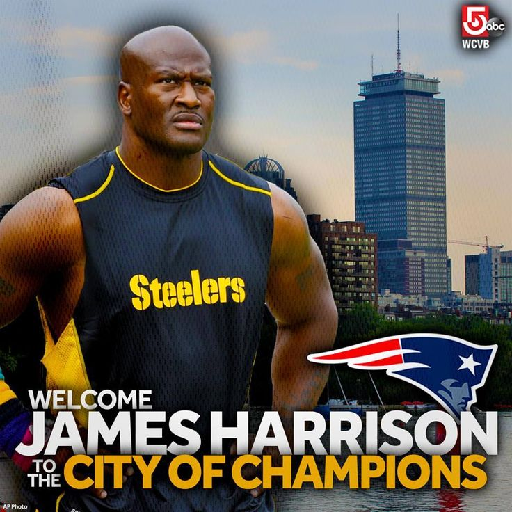 """Longtime Pittsburgh Steelers defensive star James Harrison makes the news official: he's now with the New England Patriots! Welcome to the """"real"""" city of Champions James!"""