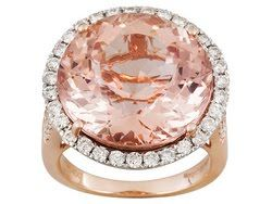 17.55ct Round Cor-de-rosa Morganite(Tm) With .97ctw Round White Diamonds 14k Rose Gold Ring MEM670