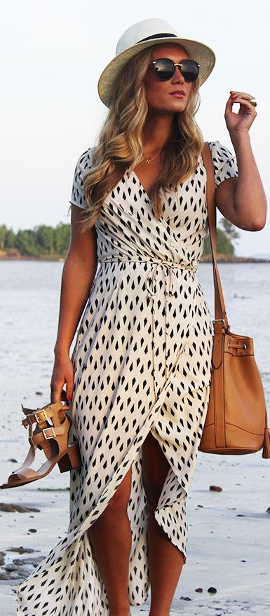Lulu's White Geometric Print Wrap Maxi Dress