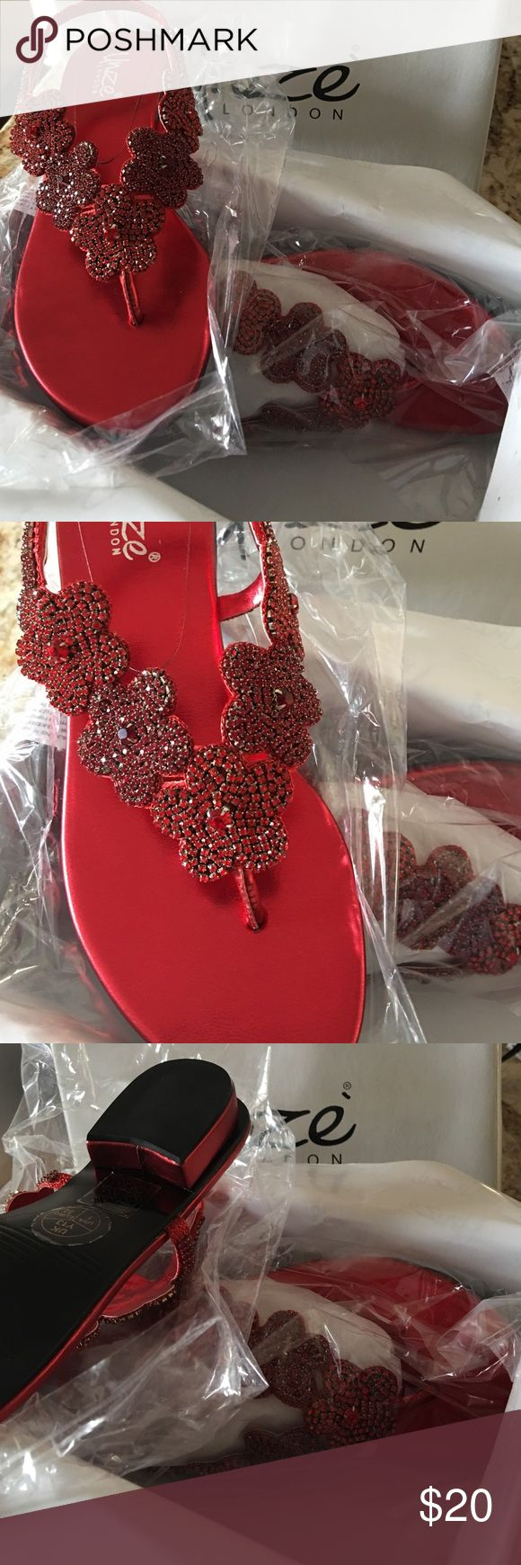 Girls size 1 sandal by Unze London Red sandal with black sole. Has about 1/2 in heel. Very detailed with Beautiful beaded flowers. Brand new with box. NWT unze london Shoes Sandals & Flip Flops