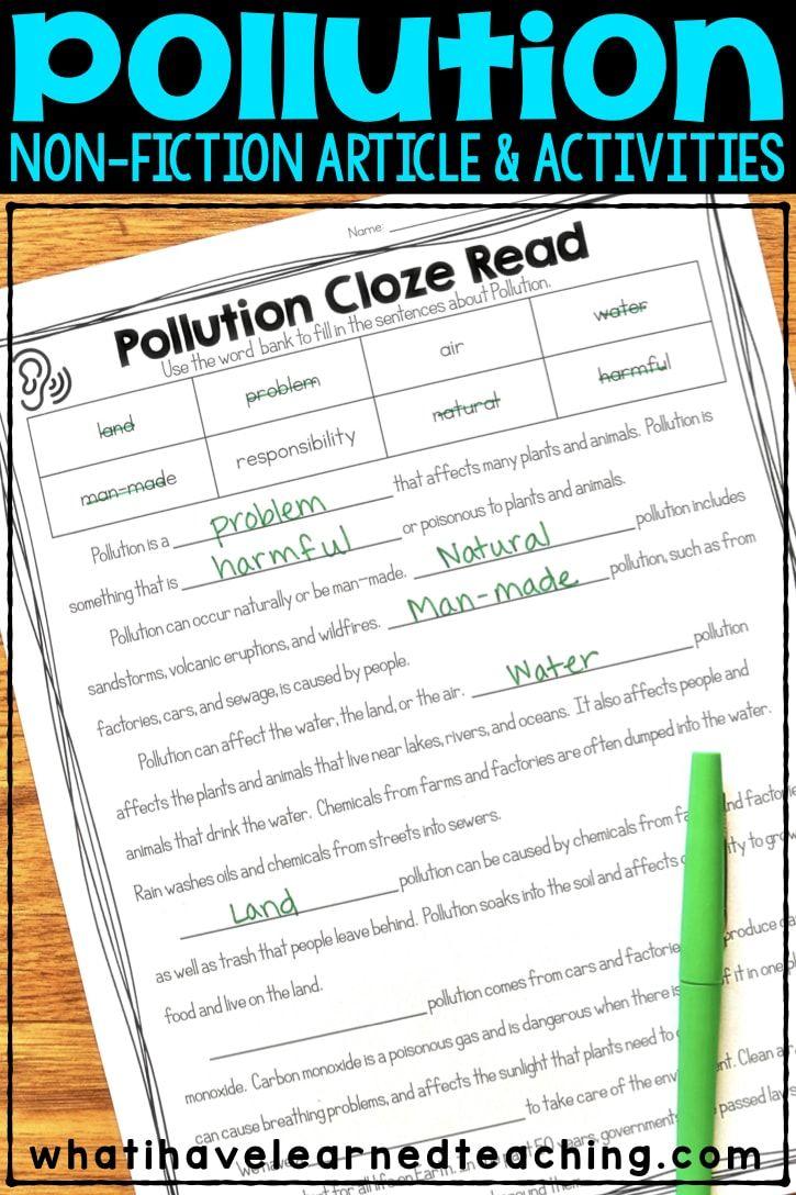 Pollution Nonfiction Article Comprehension Activities Comprehension Activities Science Lessons Elementary Elementary Reading Comprehension [ 1088 x 725 Pixel ]