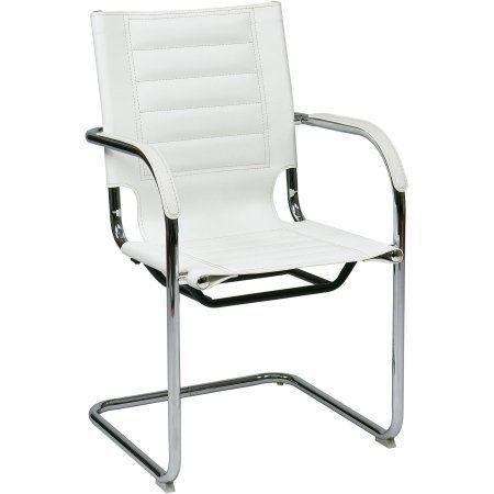 Work Smart Trinidad Guest Chair in White Vinyl, White