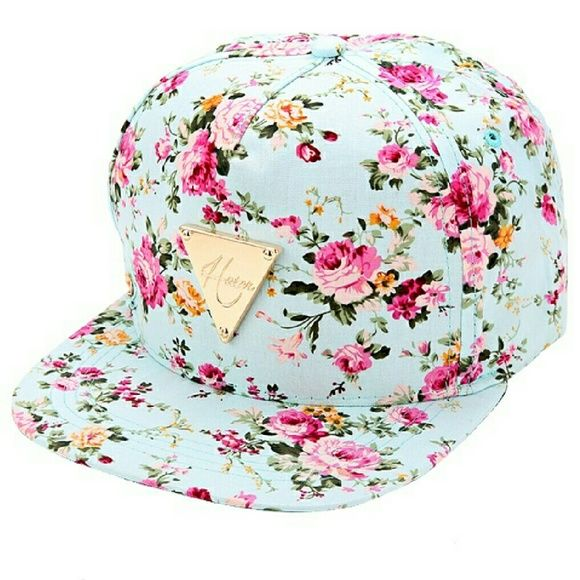 """Floral Baseball Cap Aqua blue baseball cap with gorgeous floral print, adjustable snap closures on back, gold plate with brand name """"Hater"""" on front. 7"""" long, 2.75"""" wide, cotton blend material. Super cute with jeans & sneakers for a hip, street look Accessories Hats"""