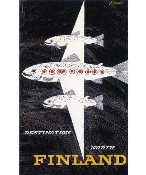 Vintage travel poster from Finland