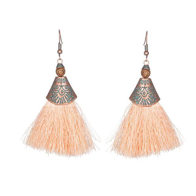 d05cf6b5e Ancient Fringe Bohemian Beige Tassel Earrings - Peach | Fall Jewelry ...
