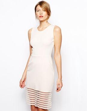 Image 1 - Love - Robe moulante en néoprène avec jupe à empiècement transparent