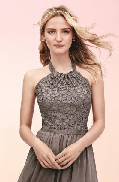 chrome hearts website Short Halter Lace and Mesh Bridesmaid Dress at  DavidsBridal