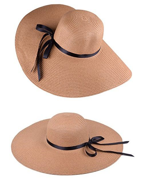 Brown Women Sun Hats Straw Beach Hats Wide Brim Floppy Hat for Travel and  Beach  a62ae7cd2
