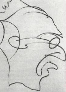 """Trip da Acido -2:35 ore dopo la prima dose Il paziente esegue in fretta un altro disegno. """"Farò il disegno in un batter d'occhio... senza fermarmi... una sola linea continua..."""""""