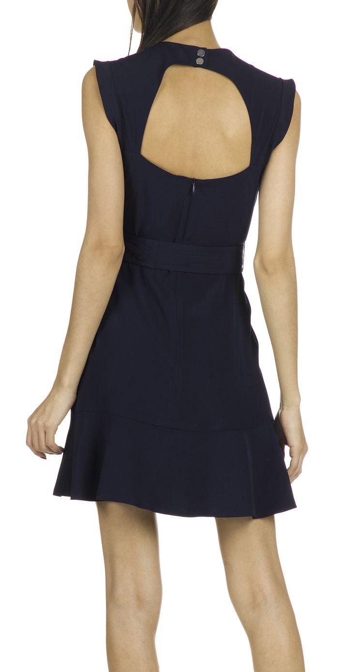 e boutique robe vas e et ceintur e rup bleu sandro femme place des tendances mode fashion. Black Bedroom Furniture Sets. Home Design Ideas