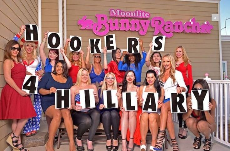 """Nevada sex workers at Dennis Hof's famous Moonlite Bunny Ranch have launched a """"Hookers for Hillary"""" Clinton website that endorses the former secretary of state's campaign for president. (Hookers for Hillary)"""