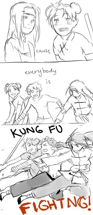 ♫ EVERYBODY IS KUNG FU FIGHTING! ♫ Hahahahahahaha!<<<This is so cute! But it makes me sad too...