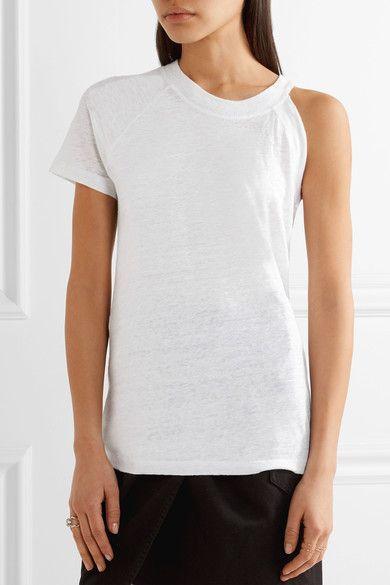 IRO - Jain Asymmetric Slub Linen Jersey T-shirt - White - x large