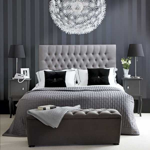 bedroom+color+ideas | Black and white bedroom decorating ideas, stylish lighting and decor ... #decor