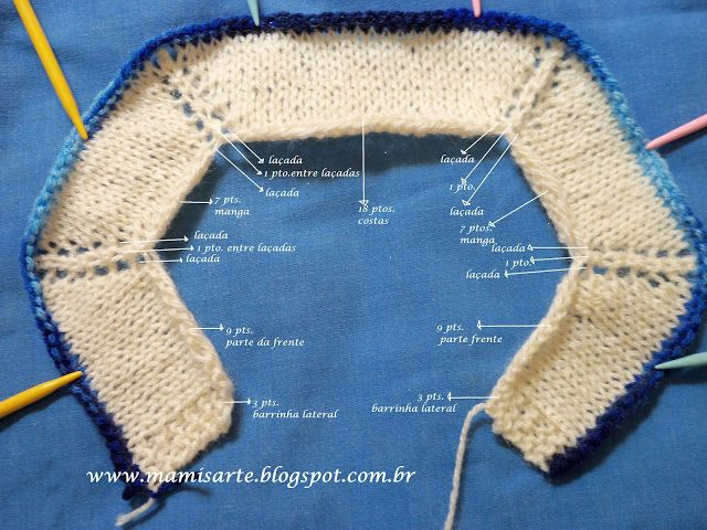 Receita de Tricô: Tabela Esquema para Palas de Casaquinhos em Tricô
