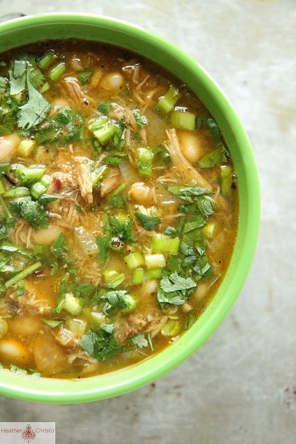 Pork Chile Verde 2 tablespoons vegetable oil 1 yellow onion, diced 4 cups pulled pork 2 cups salsa verde 4 cans white beans 8 cups chicken stock 2 teaspoons cumin 1 teaspoons chili powder Kosher Salt Garnish with Green Onions and cilantro