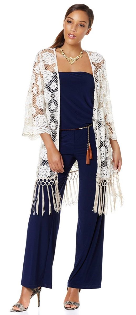 Freshen up your looks with this kimono by Nikki Poulos! The lace and fringe mix give you a style that's both wildly romantic and completely of-the-moment too!