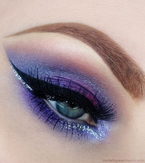 rockettqueen:Products Usedbeautiful! :D: Purple Smokey Eye, Purple Eyes, Eye Shadows, Eyeshadows Purpleshadow, Beautiful, Blue Eyes, Purple Eye Makeup, Eyemakeup Eyeshadows, Glitter Eye