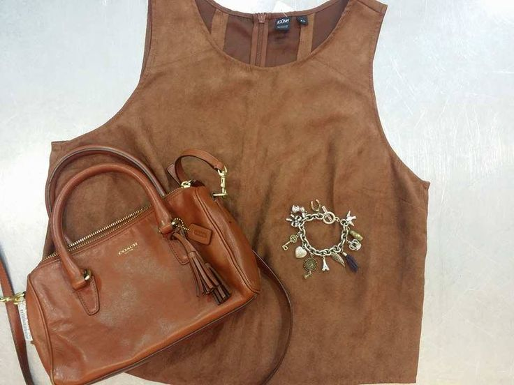 #Boho is so big this summer – And #PlatosClosetBrampton has all the best bohemian looks & accessories for less! //#Coach purse, $20//tank, large, $6//#JuicyCouture bracelet, $20// | www.platosclosetbrampton.com