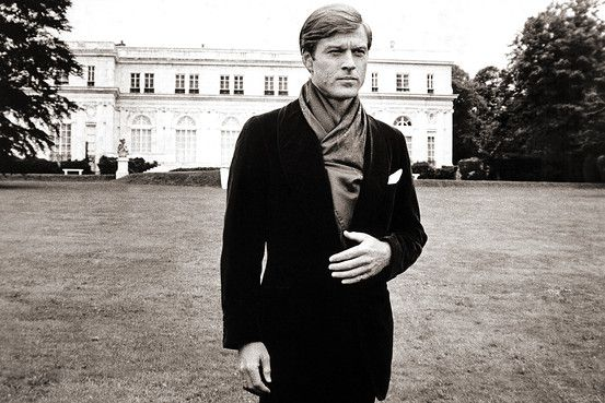 Robert Redford in The Great Gatsby on the grounds of Rosecliff Mansion.