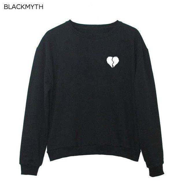 BLACKMYTH Broken Heart Printed Sweatshirts Women's Fashion Casual Tops Girls O-neck Pullovers Long Sleeve Hoodies Tracksuits
