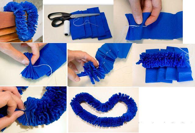 Como hacer una guirnalda de papel crepe diy manualidades - Como hacer manualidades de papel ...