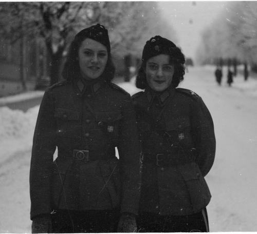 Members of Lotta Svärd serving Finnish Air Force during winter war (FIN-RUS). The right one is daughter of Major General Wallenius. Lappeenranta, December 19, 1939.