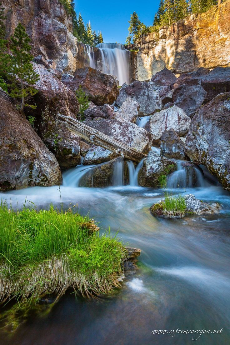 The largest waterfall along Paulina Creek, Central Oregon.