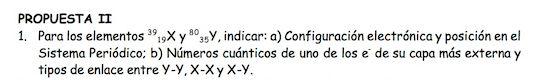 Ejercicio 1, propuesta 2, SETIEMBRE 1997. Examen PAU de Química de Canarias. Temas: estructura atómica.