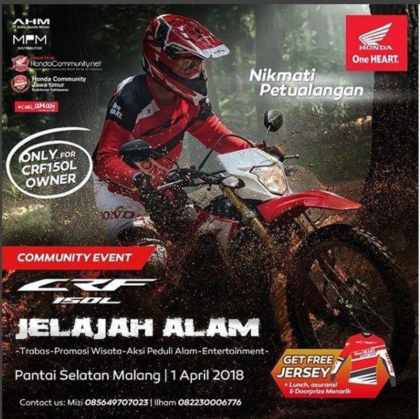 Ayo Para Owner Honda CRF150L Jelajah Alam Malang Selatan, GRATIS loch !!