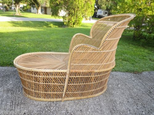 Tlc Wicker Chaise Lounge Long Chair Victorian Shabby Chic