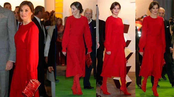 REINA LETIZIA ORTIZ estrena falda con ligero vuelo y blusa en rojo en AR...