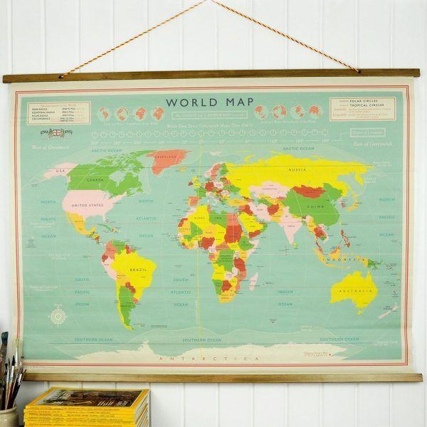 Verrassend HOME-STOCK-WERELDKAART-WORLD-MAP-VINTAGE-WORLD-LANDKAART ZR-31