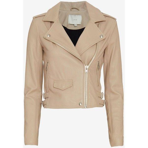 IRO Ashville Biker Leather Jacket (37.350 UYU) ❤ liked on Polyvore featuring outerwear, jackets, biker jacket, beige jacket, 100 leather jacket, lined jacket y real leather jacket