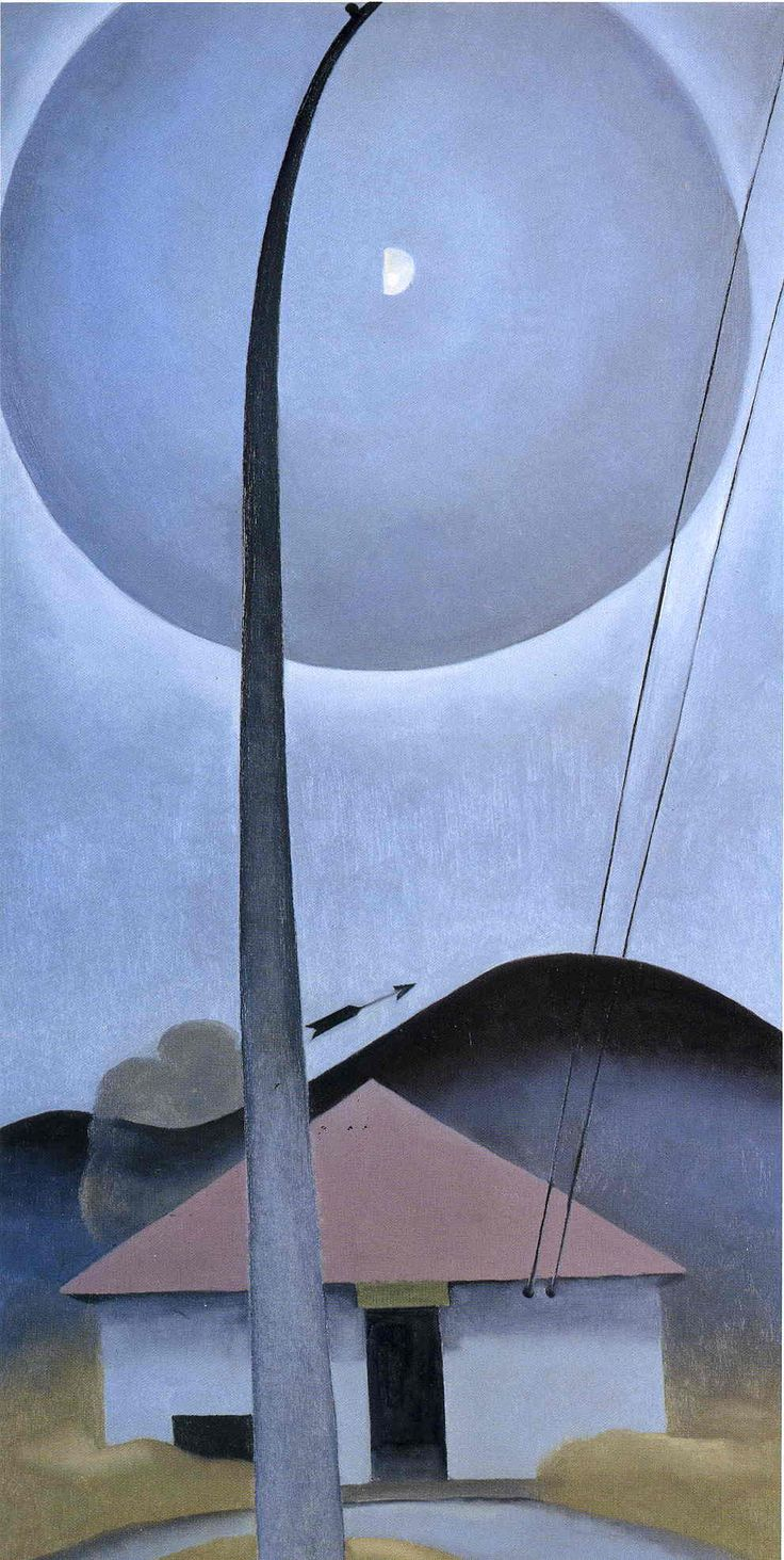 Georgia O'Keeffe Paintings 018.jpg. Flagpole, Little House, Moonring, Lake George 1925