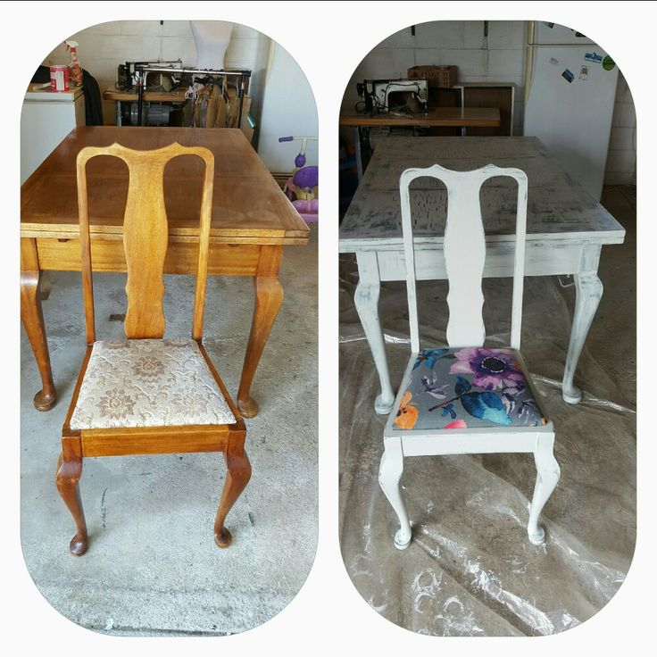 Table and chairs. Before and after