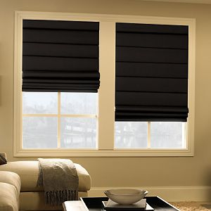 black roman shades. My need this for my bf whose complains about the light coming in my big bedroom windows