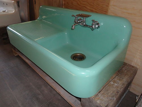 rare green antique cast iron farm farmhouse drainboard kitchen sink vintage - Retro Kitchen Sink