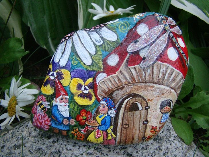 Pictures Of Gnomes Painted On Rocks